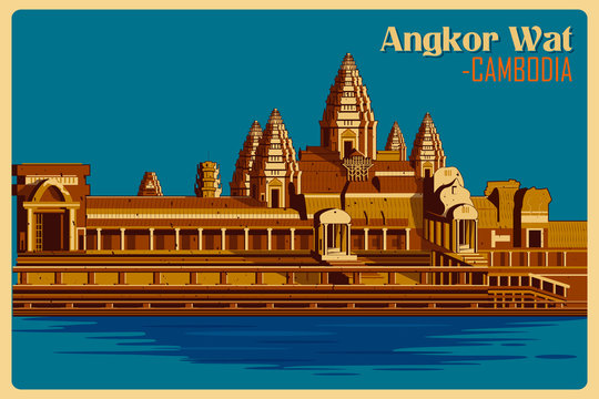 Vintage poster of Angkor Wat famous monument in Cambodia