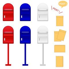 ポスト、郵便、郵便ポスト 、ポスト投函 、投函 、外国風、洋風、複数、ポスティング、宅配、通販、配送