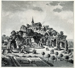Garden with artificial rocks and caves in Bad Vöslau, Austria (from Meyers Lexikon, 1895, 7 vol.)