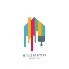 House painting service, decor and repair multicolor icon. Vector logo, label, emblem design. Concept for home decoration, building, house construction and staining.