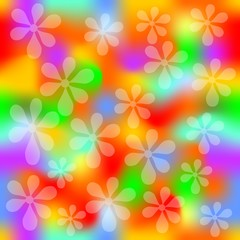 Vivid seamless rainbow splashes background with transparent flower shapes, template for textile, wrapping