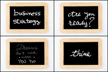 Photo collage of Wooden vintage chalkboard frames isolated on white