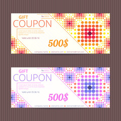 Gift voucher with halftone design. Vector card template. Coupon discount set. Dotted tickets.
