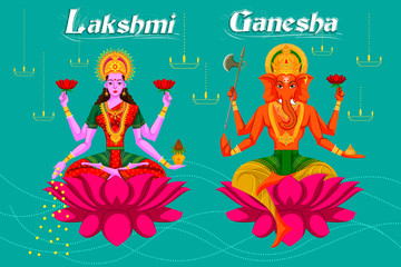 Indian Goddess Lakshmi and Ganesha on Lotus