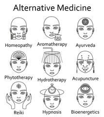Alternative Medicine icons set. Vector illustration.
