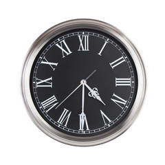 Half past four on the round clock