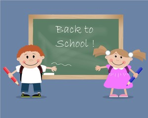 "Children near a blackboard with the inscription ""Back to School!"". Vector illustration. It can be used for the websites, children's magazines and typographical production"