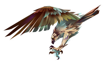 dive hawk isolated Wall mural
