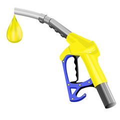 Fuel pump. Colored hand drawn vector illustration of fuel pump nozzle with one last drop on white background.