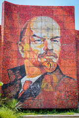 Mosaic monument of Vladimir Lenin on street of Sochi, Russia