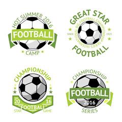 Football labels, green vintage. Vector