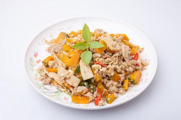 Stir Fried Pumpkin with Egg,Thai Food