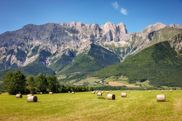 Roc Roux, Tête de Claudel and Tête du Collier on a summer afternoon near Chauffayer. Hautes Alpes mountain range in Southern French Alps, France