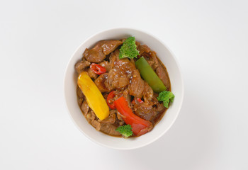 meat and vegetable stir fry