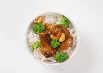 Beef and cashew stir fry with rice