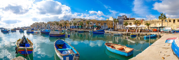 Marsaxlokk fishermen village in Malta. Panoramic view.