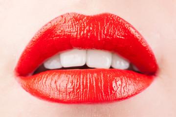 Closeup of beautiful sexy plump woman lips