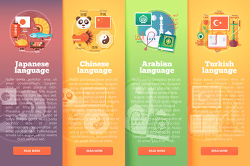 Vertical banners set of foreign language schools. Flat vector colorful illustration concepts of Japanese, Chinese, Arabian Turkish languages. For brochure, booklet, print and web materials.