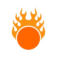 flame fire and ball logo vector