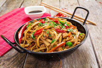 Chinese food on wok