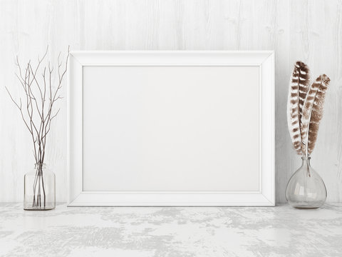 Square vintage poster mockup with wooden frame, feathers and twigs on empty white wall background. 3D rendering.