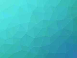 Abstract turquoise teal blue gradient low polygon shaped backgro