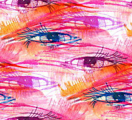 print,, abstract eye seamless pattern on a pink background, watercolor sketch