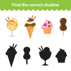 Children's educational game, find correct shadow silhouette. Sweets, ice cream, set the game to find the right shade. Vector illustration