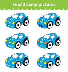 Children's educational game. Find two same pictures. Set of car toy for the game find two same pictures. Vector illustration.