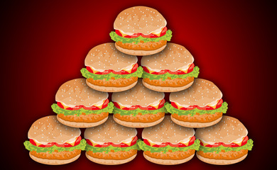 Hamburgers Pyramid with Meat, Lettuce, Cheese and Tomato