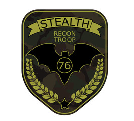 Recon troop military emblem patch with bat, ribbon, star and branch. Army chevron logo on camouflage background