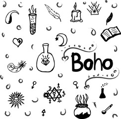 pattern of Ornamental Boho Style Elements.