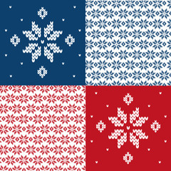 Knitted pattern with snowflake. Vector