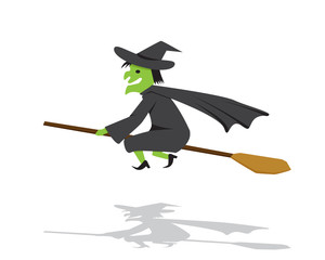 Witch on a broomstick in flat cartoon style
