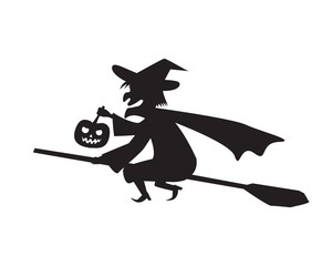 Witch hold pumpkin lamp on a broomstick