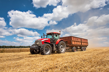 Fototapete - Modern red tractor on the agricultural field on sunny summer day