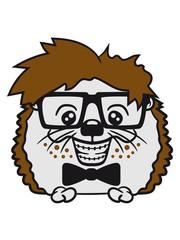 shall fly grin clasp nerd geek smart intelligent stupid freak funny naughty teenager hornbrille hedgehog comic cartoon