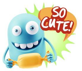 3d Rendering. Candy Gift Emoticon Face saying So Cute with Color