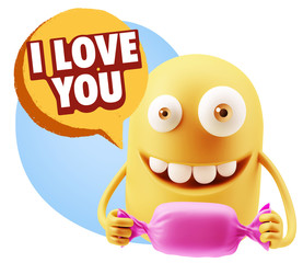 3d Rendering. Candy Gift Emoticon Face saying I Love You with Co