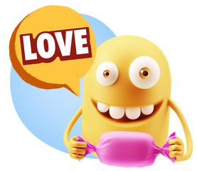 3d Rendering. Candy Gift Emoticon Face saying Love with Colorful