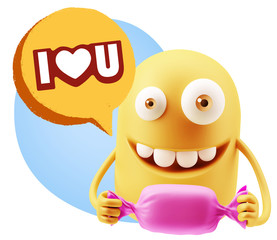 3d Rendering. Candy Gift Emoticon Face saying I Love U with Colo