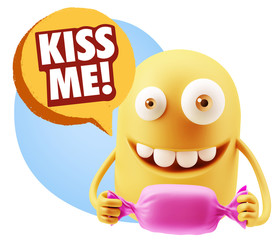 3d Rendering. Candy Gift Emoticon Face saying Kiss Me with Color