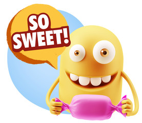 3d Rendering. Candy Gift Emoticon Face saying So Sweet with Colo