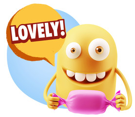 3d Rendering. Candy Gift Emoticon Face saying Lovely with Colorf