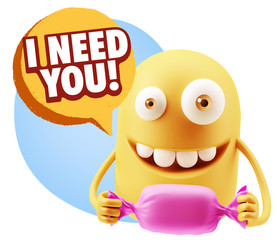 3d Rendering. Candy Gift Emoticon Face saying I Need You with Co