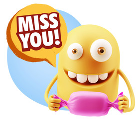 3d Rendering. Candy Gift Emoticon Face saying Miss You with Colo