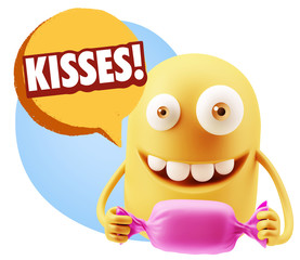 3d Rendering. Candy Gift Emoticon Face saying Kisses with Colorf