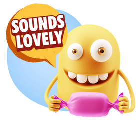 3d Rendering. Candy Gift Emoticon Face saying Sounds Lovely with