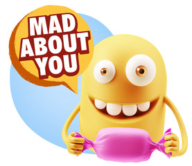 3d Rendering. Candy Gift Emoticon Face saying Mad About You with