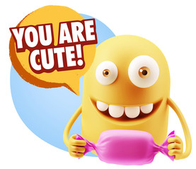 3d Rendering. Candy Gift Emoticon Face saying You Are Cute with